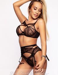 Model escort Deni in her sexy designer lingerie set